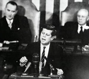 "Speaking to Congrss and The Nation, President Kennedy said on May 25, 1961; ""I Believe th at this Nation should commit Itself to Achieving the Goal, Before This Decade Is Out, Of Landing a man on tne Moon and returning him Safely to Earth,""(MIX FILE)"